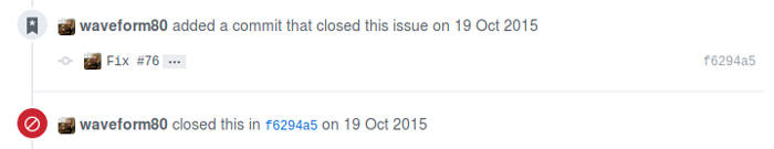 A commit to close an issue