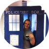 Marcus D. Hanwell emerging from the TARDIS