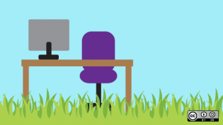 A desk illustration in grass