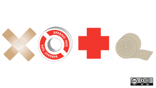medical symbols and bandages