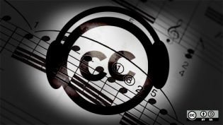 Creative Commons logo with headphones on over sheet music