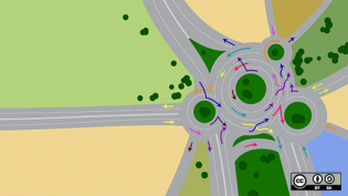 Traffic circle with arrows pointing which way to go