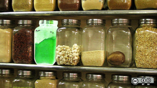 Jars with food inside on a shelf