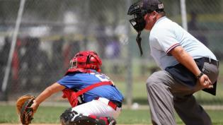 Umpire calling shots at a baseball game