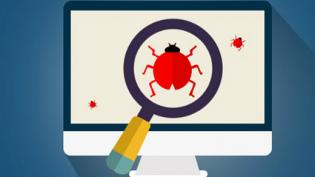 Bug tracking magnifying glass on computer screen