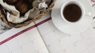 Calendar with coffee and breakfast