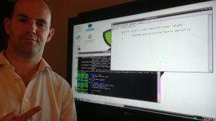 Eben with a Java hello world message
