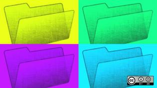4 manilla folders, yellow, green, purple, blue