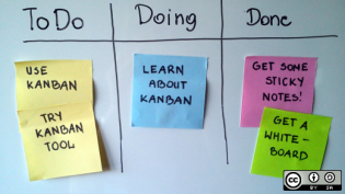 A kanban board on a whiteboard with sticky notes