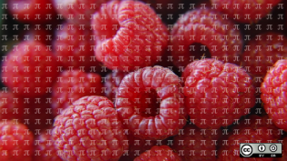 Raspberries with pi symbol overlay