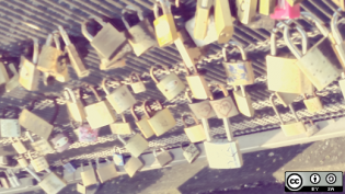 Locks on a bridge in Paris