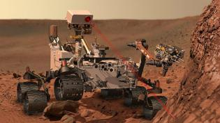 Artist's conception of the Curiosity rover vaporizing rock on Mars