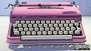A pink typewriter
