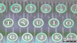 Typewriter keys in multicolor