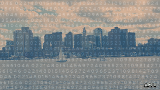 City with numbers overlay