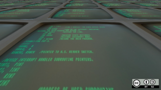 Terminal window with green text