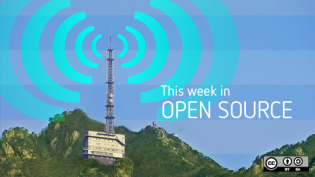 Weekly news with teal radio beacon on the top of a mountatin