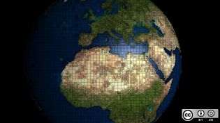 Pixelated globe