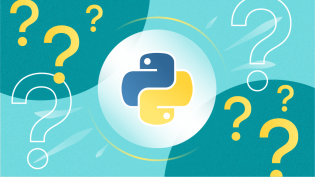 Python programming language logo with question marks
