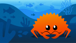 Ferris the crab under the sea, unofficial logo for Rust programming language