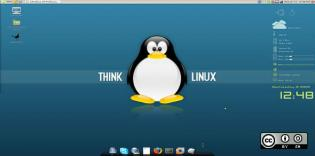 Think Linux browser background with penguin
