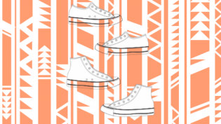 White shoes on top of an orange tribal pattern