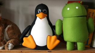 tux and android stuffed animals on shelf