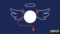 circle with devil horns and tail and angel wings and halo