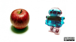 Apple and a robot