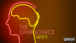 neon sign with head outline and open source why spelled out