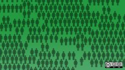 drawings of people shapes on green background