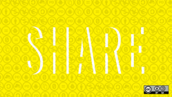 Sharing, Creative Commons icons in yellow background
