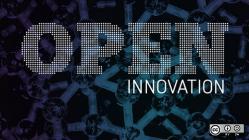 open innovation words on dark background
