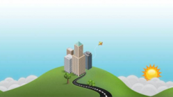 illustration of city on a hill with sun and sky