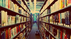 books in a library, stacks