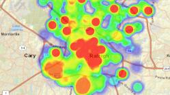 Heat map of Raleigh open permit data