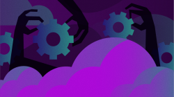 Gears above purple clouds