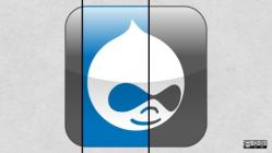Drupal logo with gray and blue