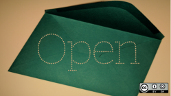 Green open envelope with Open overlay