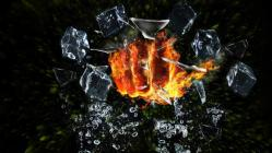 Fire fist breaking glass