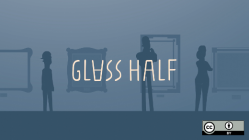 Glass half full with three people and a blue background