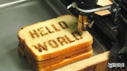Hello World inked on bread