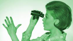 Looking back with binoculars