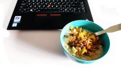Oatmeal and a laptop.
