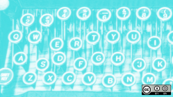 Typewriter keys in blue