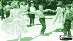 Kids doing a line dance