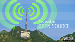 Weekly news with green radio beacon on the top of a mountatin