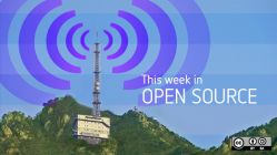 Weekly news with blue radio beacon on the top of a mountatin