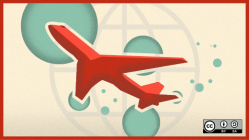 Airplane flying with a globe background