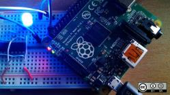 Raspberry Pi board with blue light